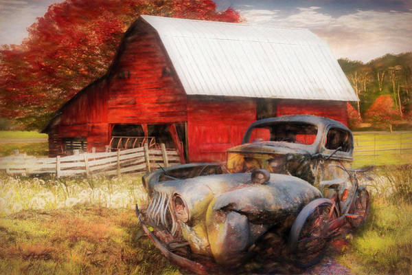 Wall Art - Photograph - Vintage In The Pasture Painting by Debra and Dave Vanderlaan