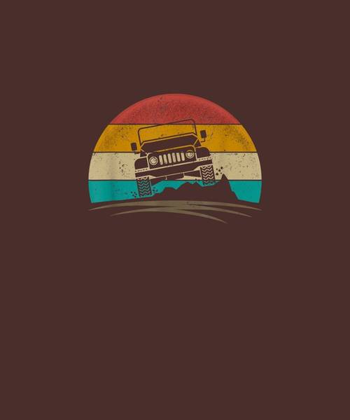 Wall Art - Digital Art - Vintage Jeeps 4x4 Retro 70s Distressed Off Road Men Women T-shirt by Unique Tees