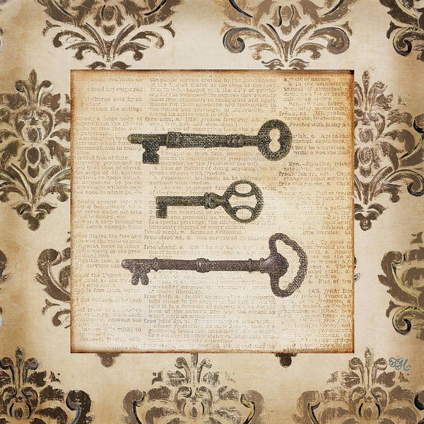 Wall Art - Painting - Vintage Keys II by Tiffany Hakimipour