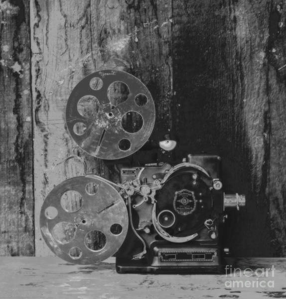 Wall Art - Photograph - Vintage Kodascope Projector - Black And White by David Hinds
