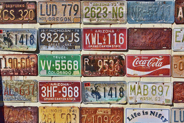 Photograph - Vintage License Plates Display by Tatiana Travelways