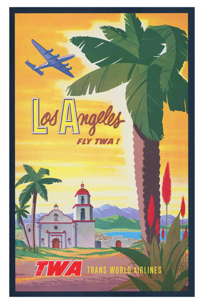 Wall Art - Photograph - Vintage Los Angeles Twa Travel Poster by Ricky Barnard