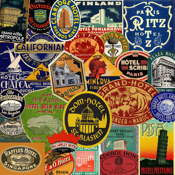 Photograph - Vintage Luggage Labels 2 by Andrew Fare