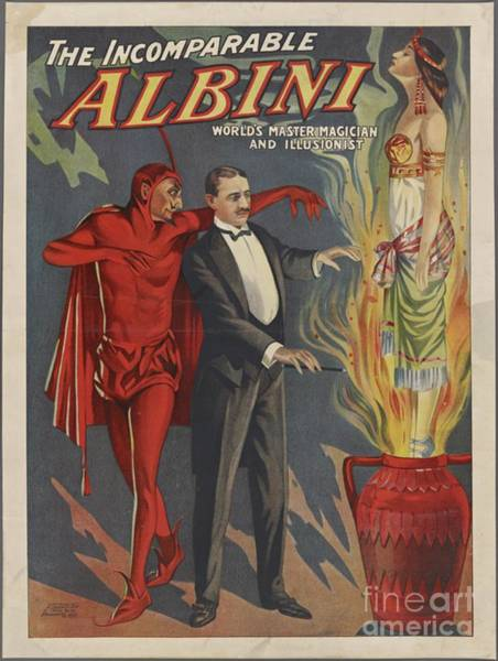 Wall Art - Painting - Vintage Magicians Poster - Albini by Esoterica Art Agency