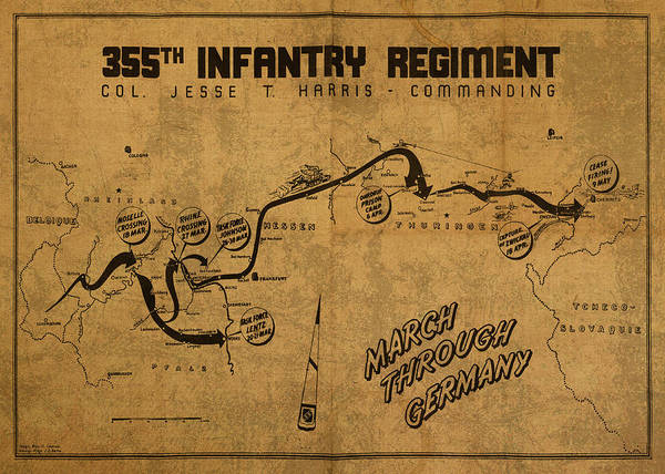 Wall Art - Mixed Media - Vintage Map Of 355th Regiment March Through Germany by Design Turnpike