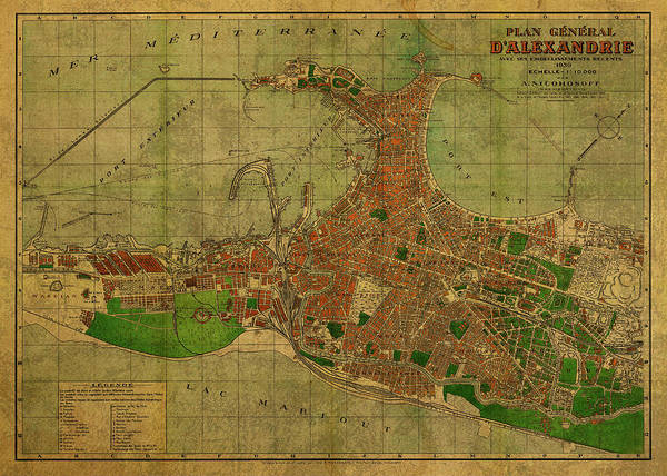 Wall Art - Mixed Media - Vintage Map Of Alexandria Egypt 1930 by Design Turnpike