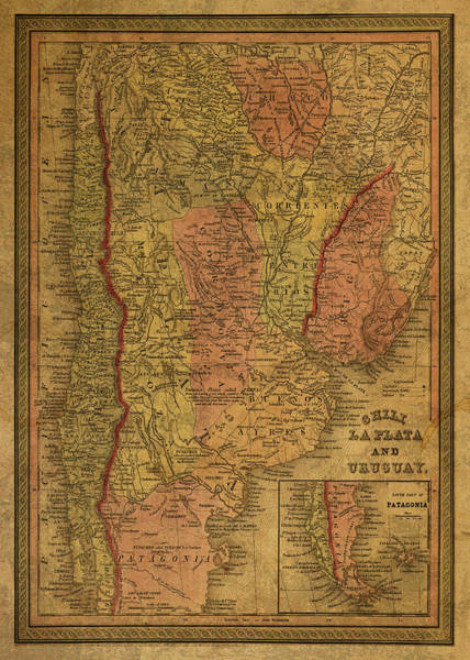 South America Mixed Media - Vintage Map Of Argentina 1853 by Design Turnpike
