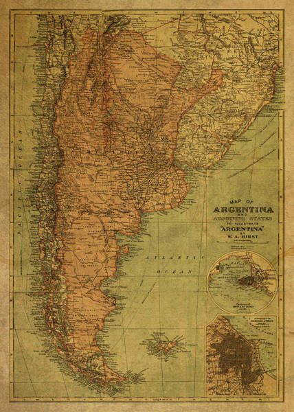 South America Mixed Media - Vintage Map Of Argentina by Design Turnpike