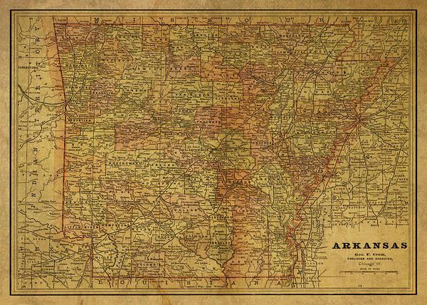 Arkansas Mixed Media - Vintage Map Of Arkansas 1891 by Design Turnpike