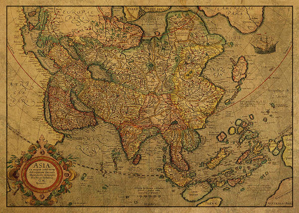 Wall Art - Mixed Media - Vintage Map Of Asia 1620 by Design Turnpike