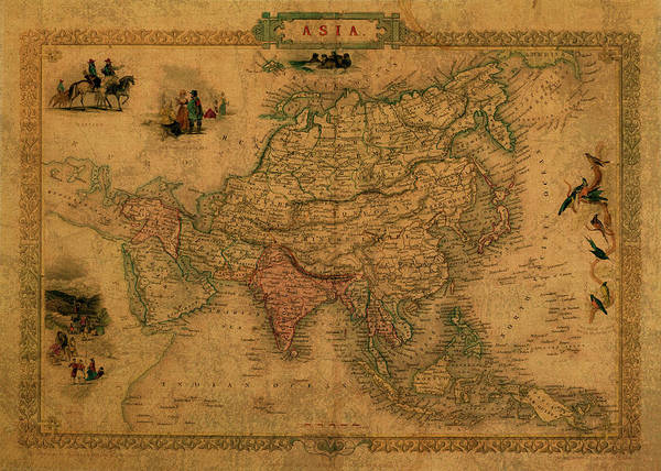 Southeast Asia Wall Art - Mixed Media - Vintage Map Of Asia by Design Turnpike