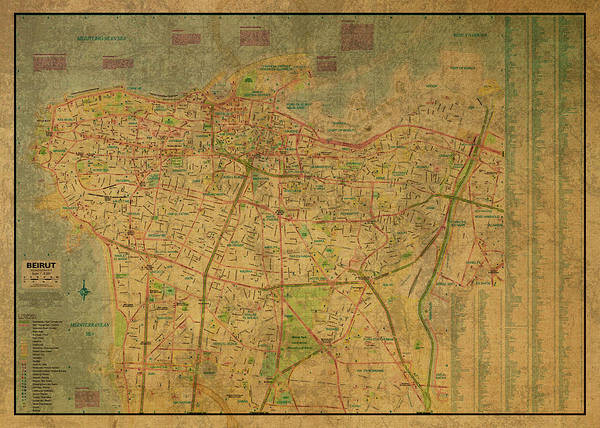 Wall Art - Mixed Media - Vintage Map Of Beirut Lebanon by Design Turnpike