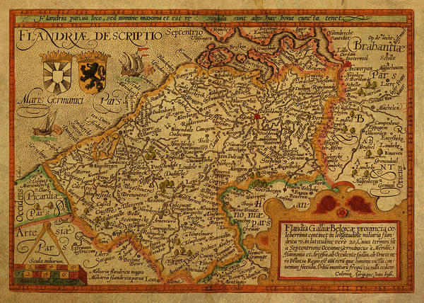 Belgium Mixed Media - Vintage Map Of Belgium And Flanders by Design Turnpike