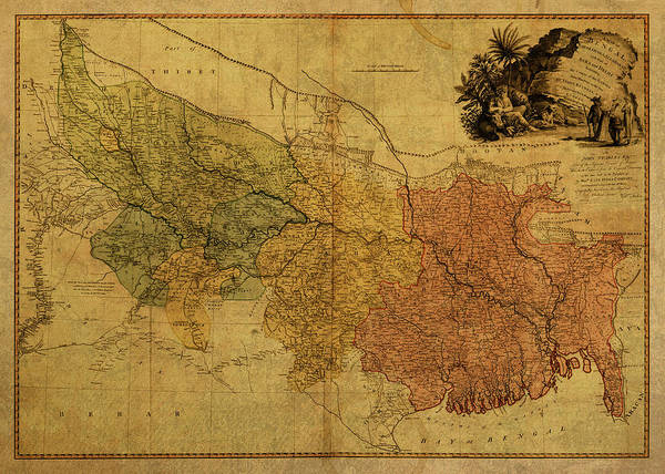 Wall Art - Mixed Media - Vintage Map Of Bengal by Design Turnpike
