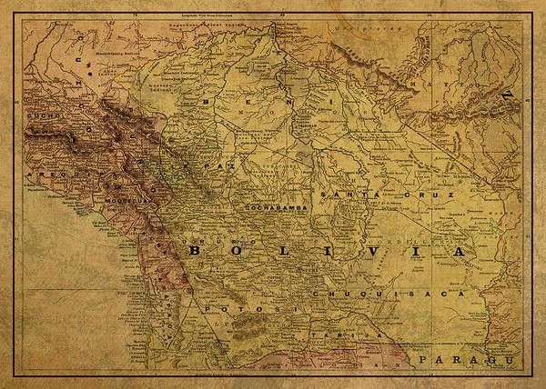 Bolivia Mixed Media - Vintage Map Of Bolivia 1892 by Design Turnpike