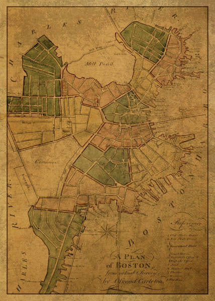 Wall Art - Mixed Media - Vintage Map Of Boston Massachusetts 1806 by Design Turnpike