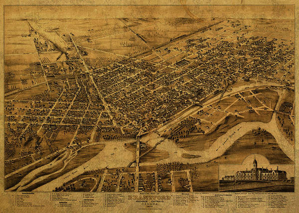 Ontario Mixed Media - Vintage Map Of Brantford Ontario Canada 1875 by Design Turnpike