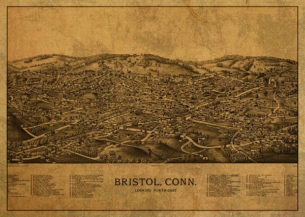 Bristol Wall Art - Mixed Media - Vintage Map Of Bristol Connecticut 1889 by Design Turnpike