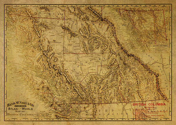 Vancouver Mixed Media - Vintage Map Of British Columbia Canada 1895  by Design Turnpike