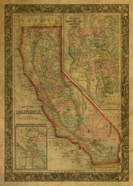 Wall Art - Mixed Media - Vintage Map Of California by Design Turnpike