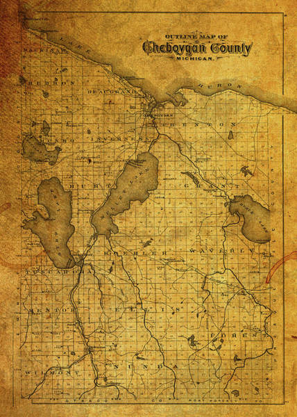 Wall Art - Mixed Media - Vintage Map Of Cheboygan County Michigan by Design Turnpike