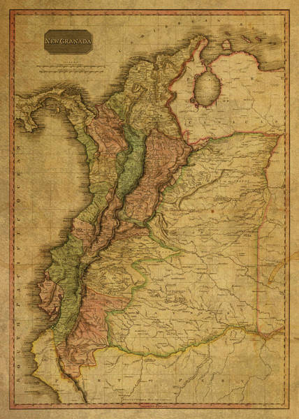 Wall Art - Mixed Media - Vintage Map Of Columbia 1818 by Design Turnpike