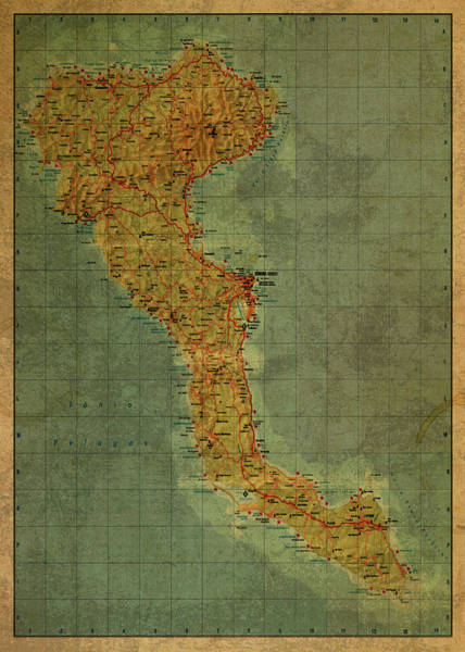 Wall Art - Mixed Media - Vintage Map Of Corfu Greek Island by Design Turnpike