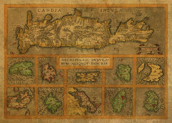 Greek Mixed Media - Vintage Map Of Crete And The Greek Isles by Design Turnpike