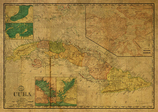 Wall Art - Mixed Media - Vintage Map Of Cuba 1898 by Design Turnpike