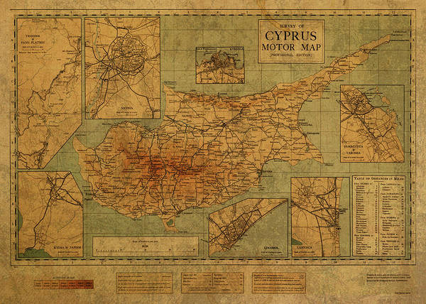 Cyprus Wall Art - Mixed Media - Vintage Map Of Cyprus 1931 by Design Turnpike