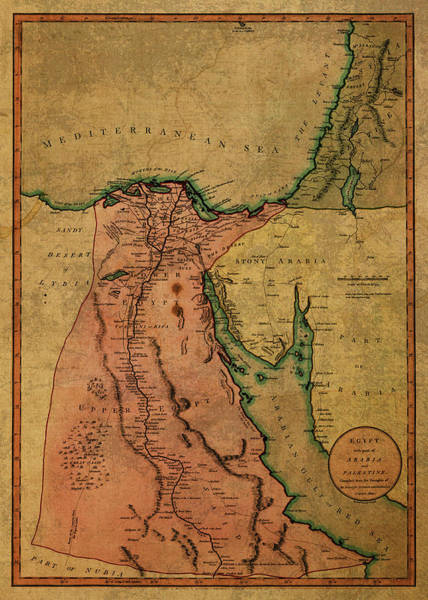 Egypt Mixed Media - Vintage Map Of Egypt 1800 by Design Turnpike