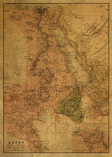 Egypt Mixed Media - Vintage Map Of Egypt Sudan And Eritrea 1885 by Design Turnpike