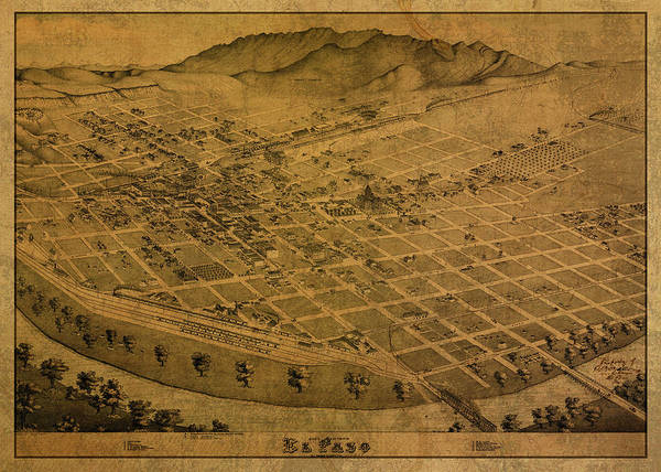 El Paso Wall Art - Mixed Media - Vintage Map Of El Paso Texas 1886 by Design Turnpike