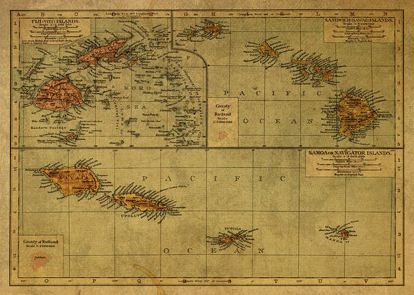 Wall Art - Mixed Media - Vintage Map Of Fiji And Pacific 1925 by Design Turnpike