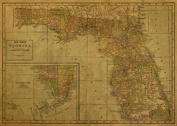 1921 Mixed Media - Vintage Map Of Florida 1921 by Design Turnpike