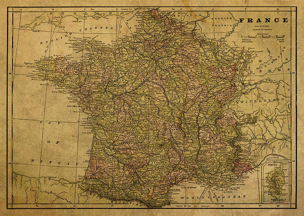 Wall Art - Mixed Media - Vintage Map Of France 1892 by Design Turnpike