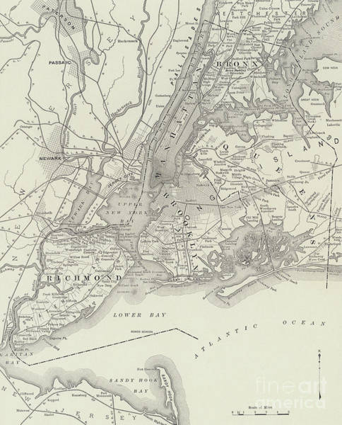 Drawing - Vintage Map Of Greater New York by American School