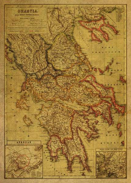 Greek Mixed Media - Vintage Map Of Greece 1903 by Design Turnpike