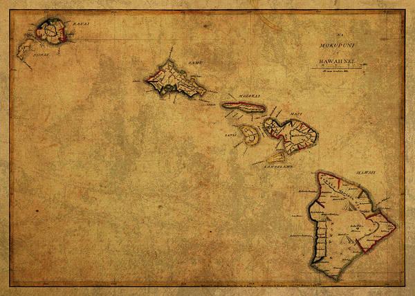 Hawaii Mixed Media - Vintage Map Of Hawaii 1837 by Design Turnpike