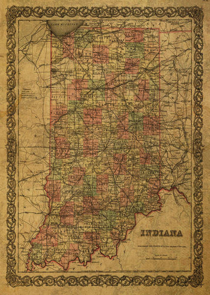 Wall Art - Mixed Media - Vintage Map Of Indiana 1855 by Design Turnpike