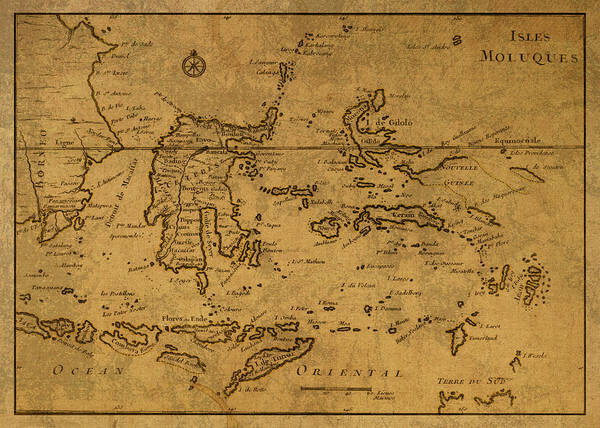 Wall Art - Mixed Media - Vintage Map Of Indonesia And The Pacific Ocean by Design Turnpike