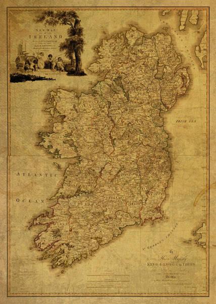 Ireland Mixed Media - Vintage Map Of Ireland 1797 by Design Turnpike