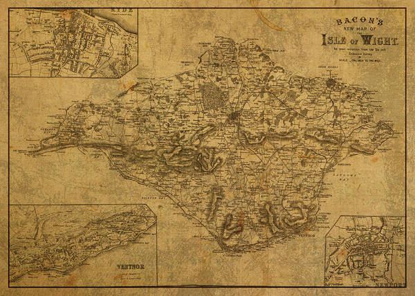 Wall Art - Mixed Media - Vintage Map Of Isle Of Wight 1885 by Design Turnpike