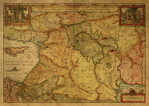 Wall Art - Mixed Media - Vintage Map Of Israel And The Holy Land 1657 by Design Turnpike