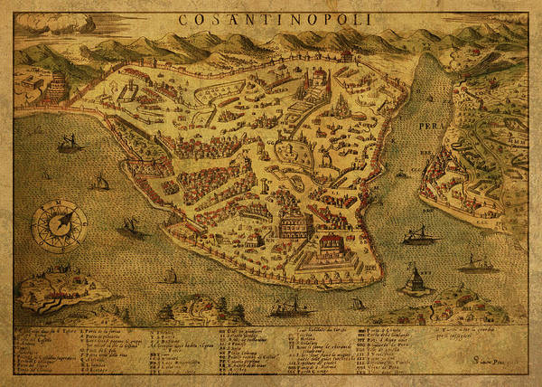 Turkish Mixed Media - Vintage Map Of Istanbul Turkey 1573 by Design Turnpike