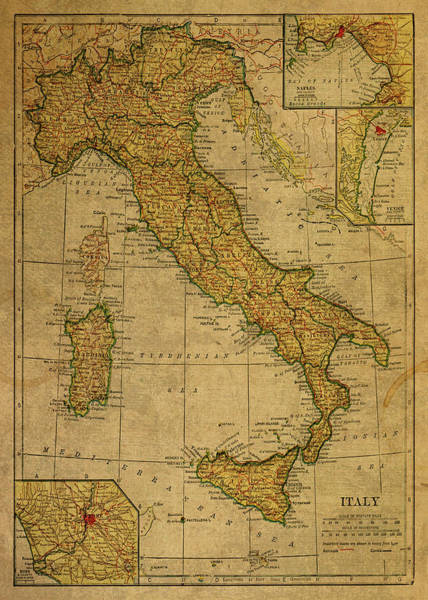 Wall Art - Mixed Media - Vintage Map Of Italy 1925 by Design Turnpike