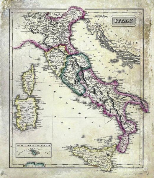 Wall Art - Photograph - Vintage Map Of Italy by Jon Neidert