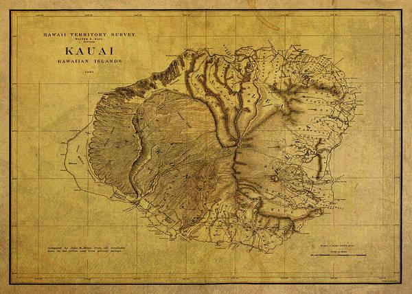 Hawaii Mixed Media - Vintage Map Of Kauai Hawaii by Design Turnpike