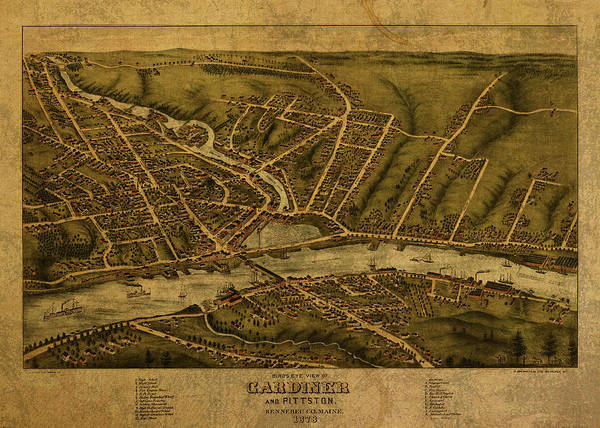 Vintage Map Of Kennebec County Maine 1873 Art Print