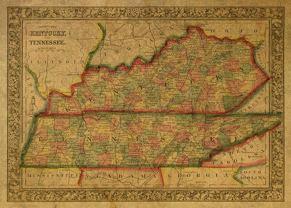 Wall Art - Mixed Media - Vintage Map Of Kentucky And Tennessee by Design Turnpike